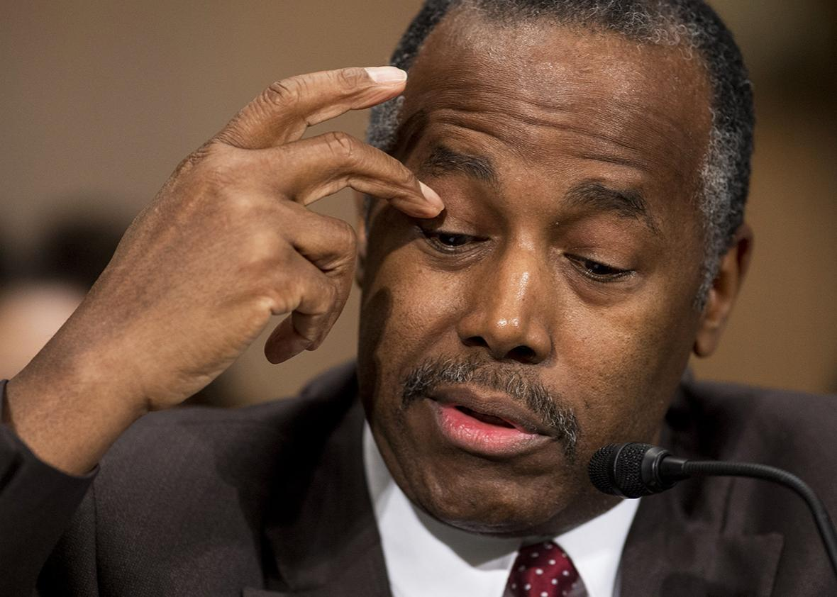 Ben Carson testifies during his confirmation hearing for Secretary of Housing and Urban Development before the Senate Banking, Housing and Urban Affairs Committee on Capitol Hill in Washington, DC, January 12, 2017.