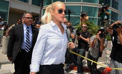 Lindsay Lohan leaves Airport Branch Courthouse in Los Angeles, California after a probation hearing. Click to expand image.