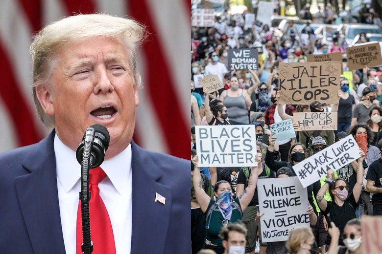 A diptych of Donald Trump speaking on the left protesters in Minnesota on the right.