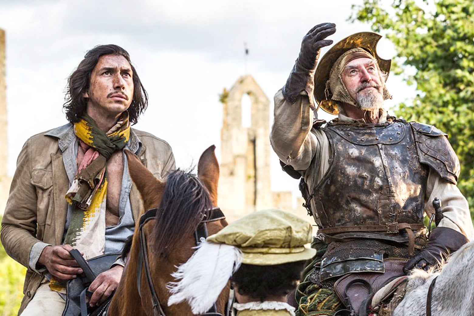 Adam Driver and Jonathan Pryce, on horseback, in The Man Who Killed Don Quixote.