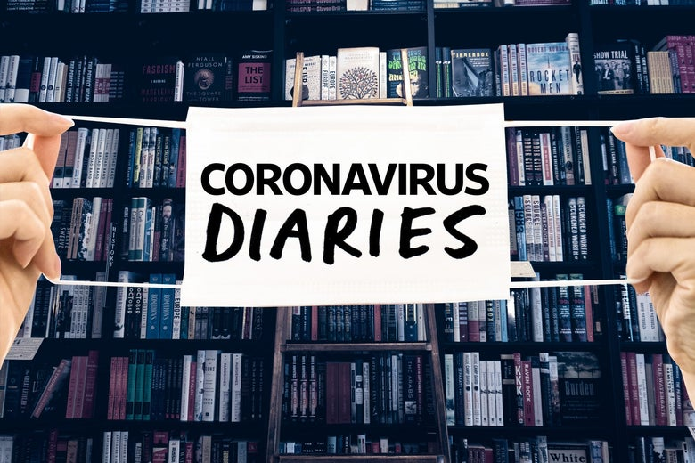 "A bookshelf in a bookstore with a mask that says ""Coronavirus Diaries"" in front of it."