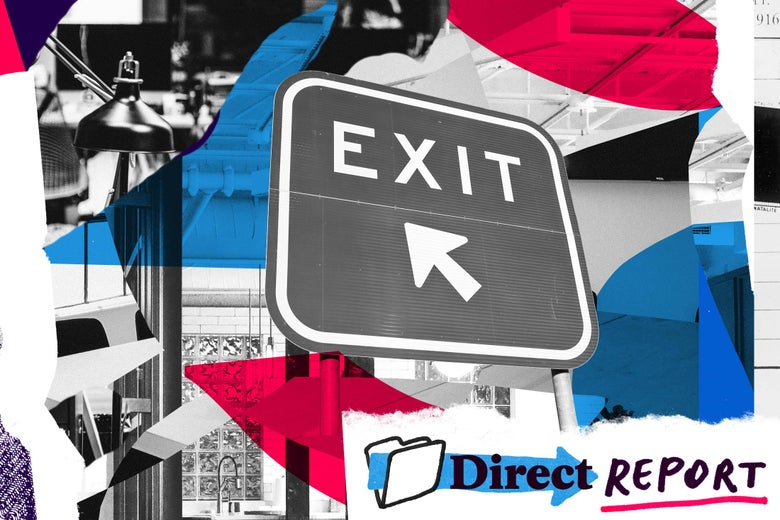 Photo illustration of an exit sign surrounded by office supplies.