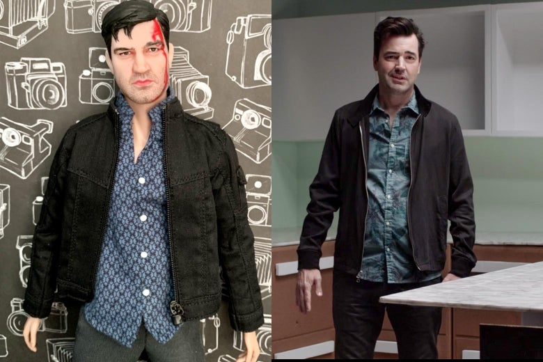Ron Livingston and his doll counterpart, the latter with a bloody head wound.