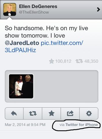 Ellen DeGeneres backstage tweet