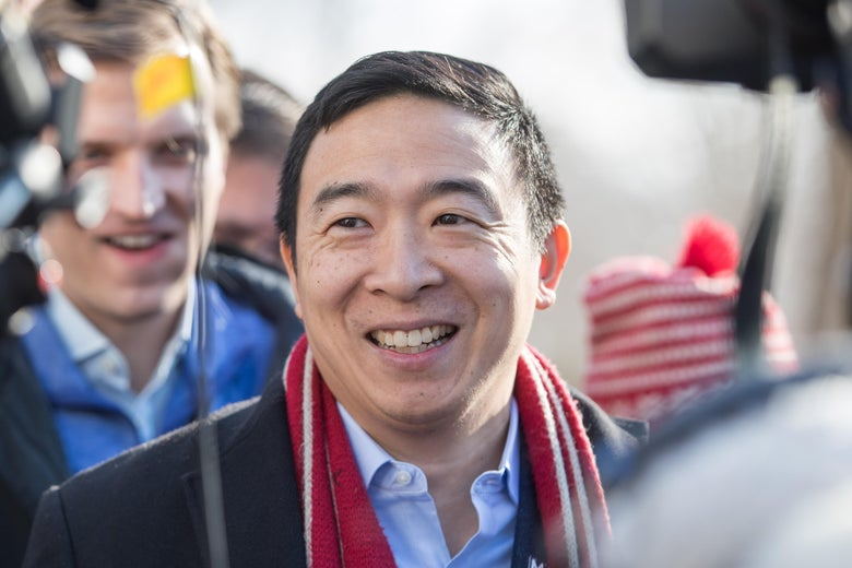 Andrew Yang in New Hampshire.