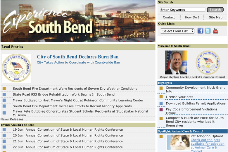 A screenshot of the official South Bend website in 2012, with a portrait of the former mayor, not Buttigieg.