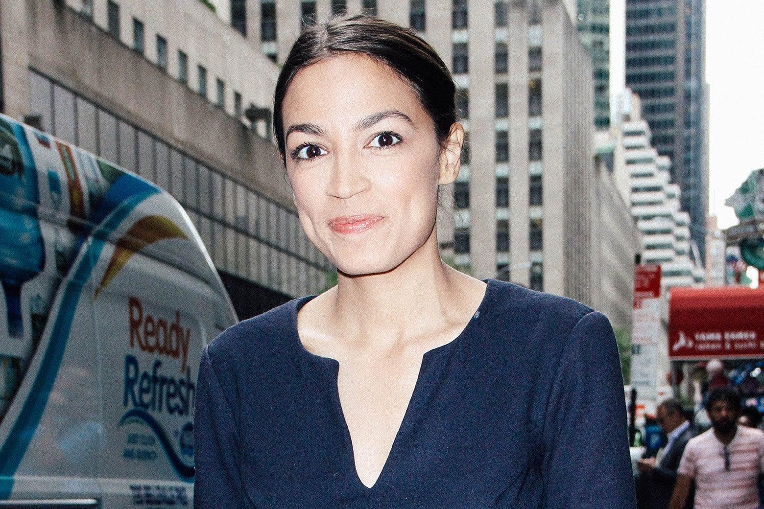 Alexandria Ocasio-Cortez on a NYC street.