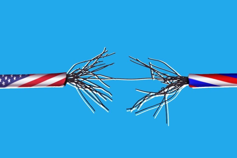 A fraying cable with a U.S. flag on one side and a Russian flag on the other.