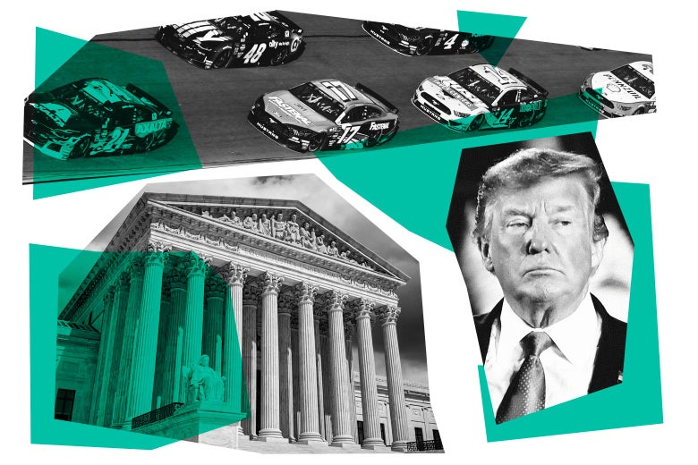 Collage of the Supreme Court building, race cars, and Donald Trump.