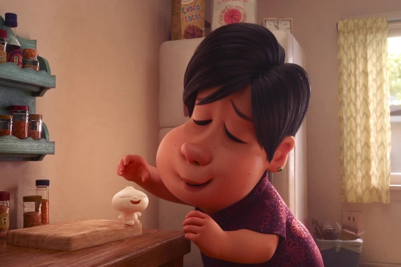 A still from Pixar showing an Asian mother and her adorable dumpling child.