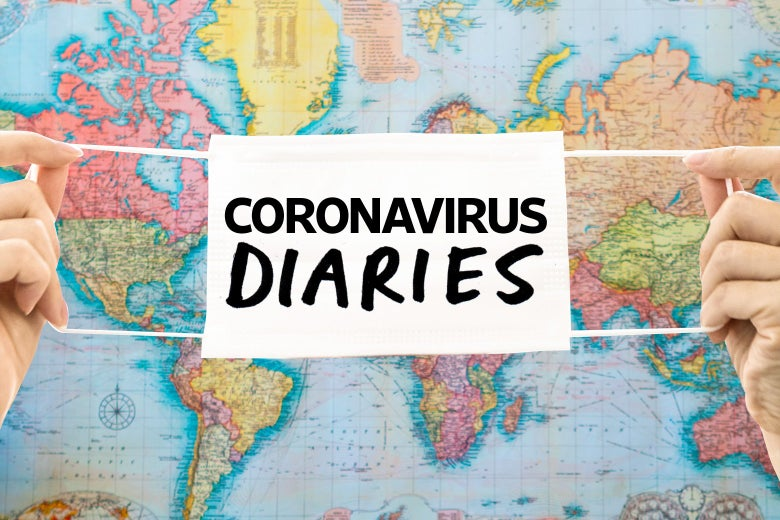 "Two hands holding up a mask that says ""Coronavirus Diaries"" over a world map"