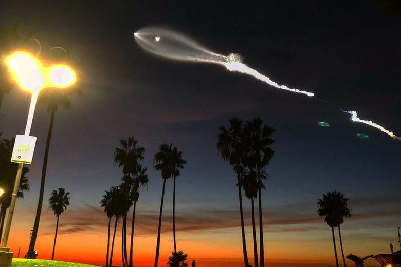 View of Falcon 9 launch on Dec. 22, 2017, from Venice, California.