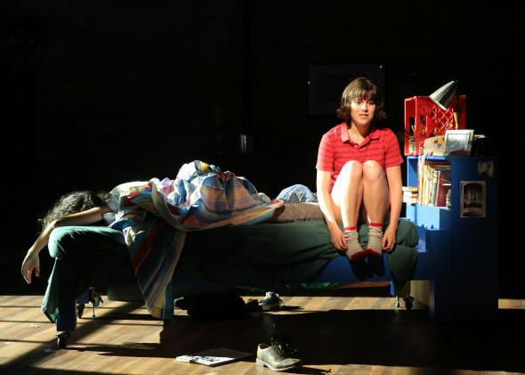Roberta Colindrez and Alexandra Socha in Fun Home at The Public Theater.