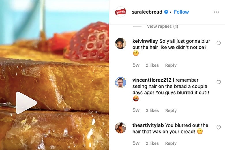 Screenshot of a Sara Lee Instagram post, showing comments complaining that the original version of the post featured a hair on the french toast, blurred out in this version.