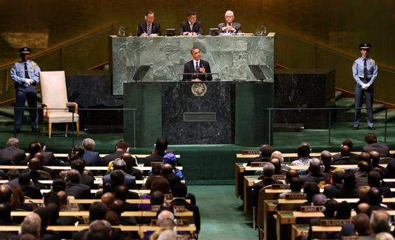 President Obama speaks at the UN General Assembly meeting on Tuesday in New York City.