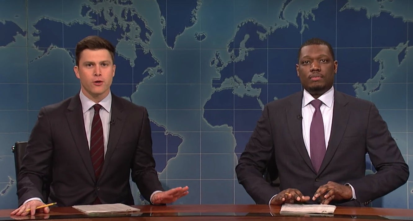 "Colin Jost and Michael Che host ""Weekend Update."""