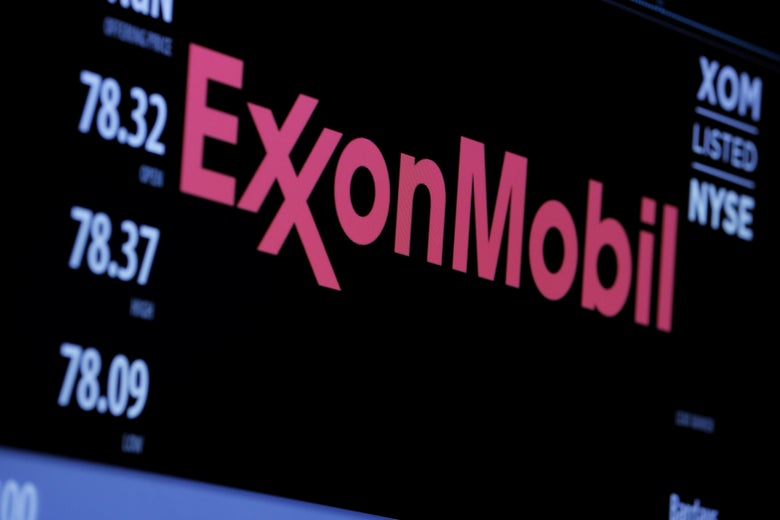 The Exxon Mobil logo is seen on the New York Stock Exchange.