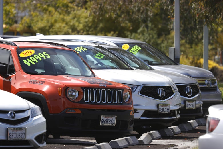 Used cars on a lot in California.