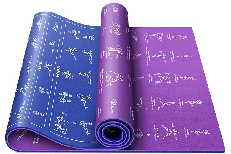 Yoga mat with poses and exercises printed on it
