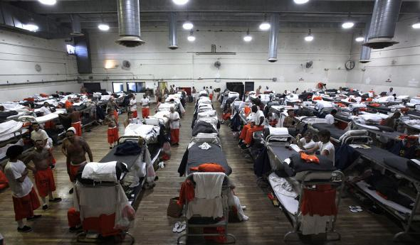 Inmates at Men state prison in Chino, California.