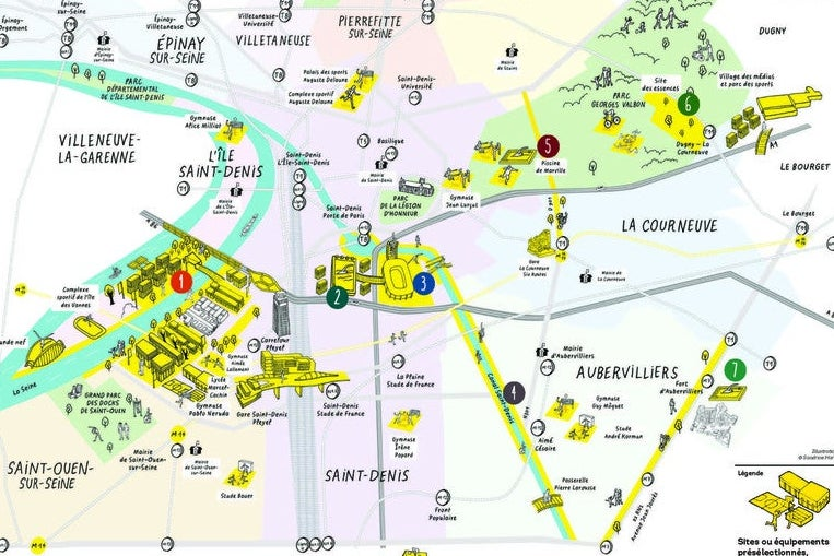 A map showing Olympic sites in Seine-Saint-Denis.