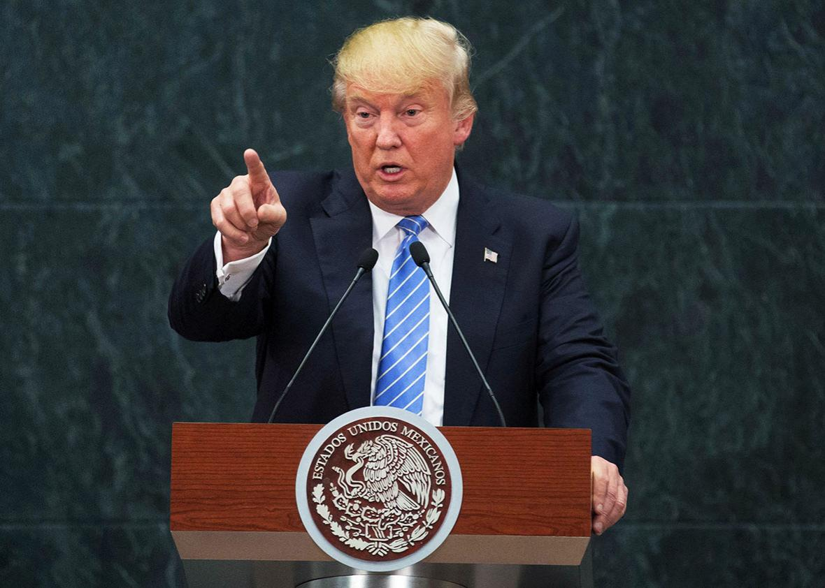 US Republican presidential candidate, Donald Trump speaks during a press conference with President of Mexico Enrique Pena Nieto at Los Pinos presidential residence, in Mexico City, Mexico on August 31, 2016.