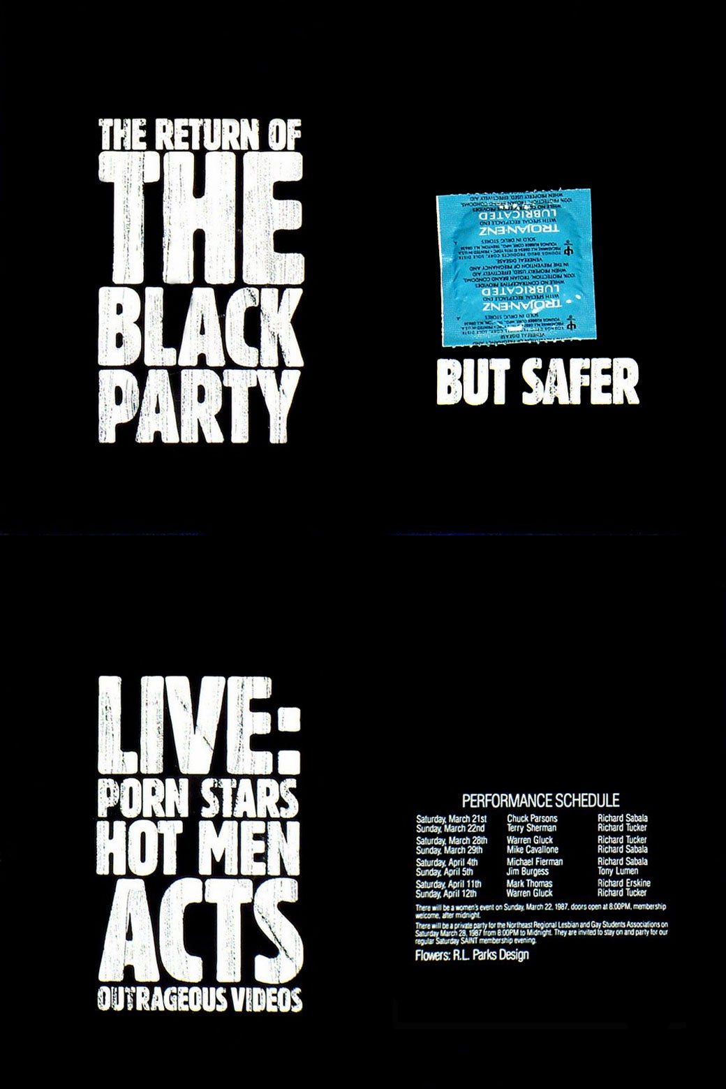 """Flyer reads """"THE RETURN OF THE BLACK PARTY"""" and """"BUT SAFER"""" with an image of a condom."""