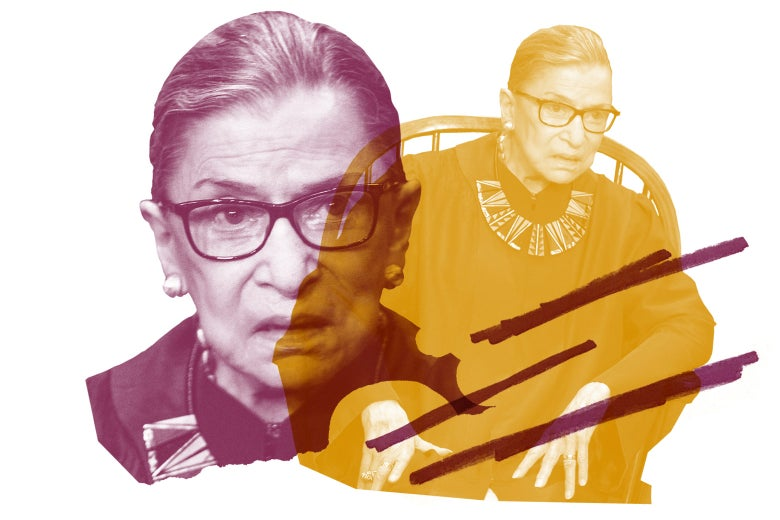 Collage of two images of Ruth Bader Ginsburg.