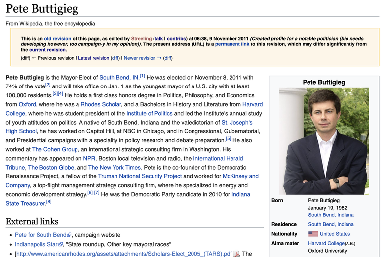 Screenshot of the original Pete Buttigieg Wikipedia page, as created by Streeling.