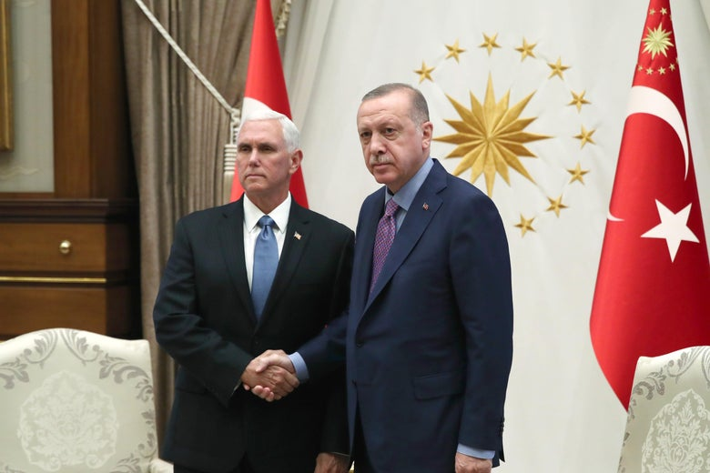 Mike Pence and Recep Tayyip Erdogan