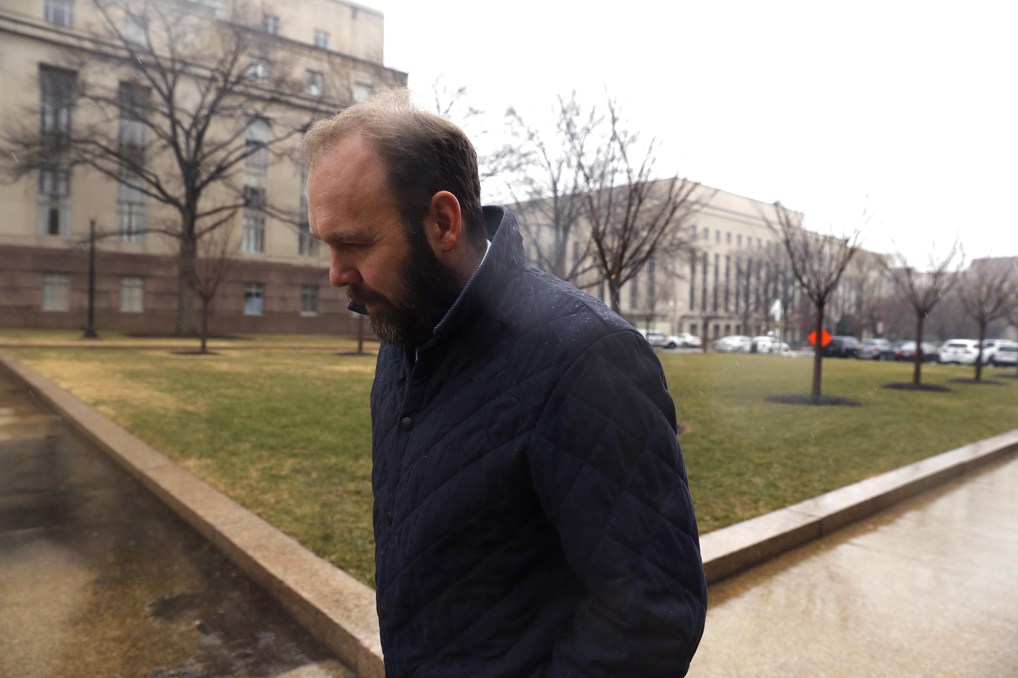 Former Trump Aide Rick Gates attends a hearing on his fraud, conspiracy and money-laundering charges at the E. Barrett Prettyman United States Courthouse on February 7, 2018 in Washington, D.C.