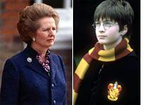 Margaret Thatcher and Daniel Radcliffe as Harry Potter