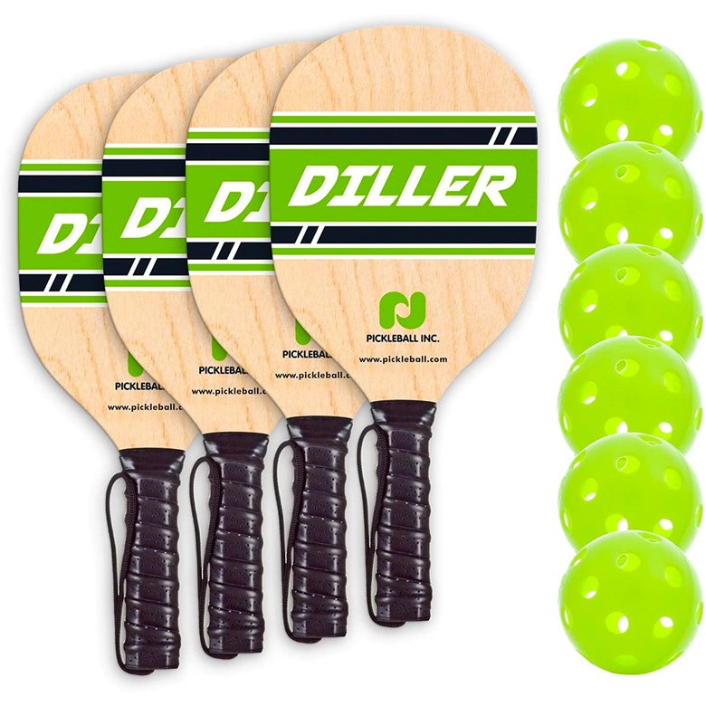 Four paddles and six pickleballs