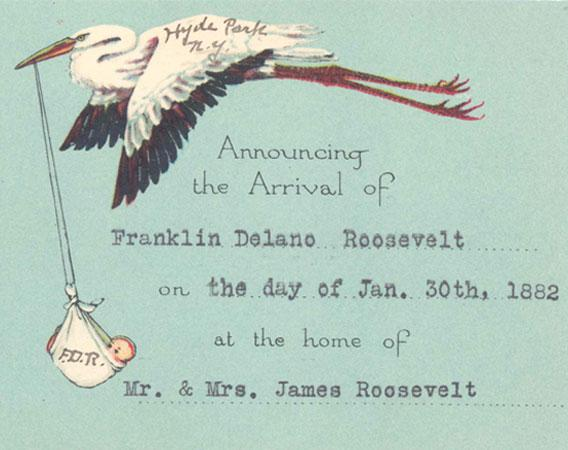 FDR Birth Announcement.