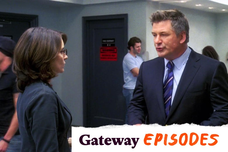 In a scene from 30 Rock, Tina Fey as Liz Lemon and Alec Baldwin as Jack Donaghy talk in a hallway.