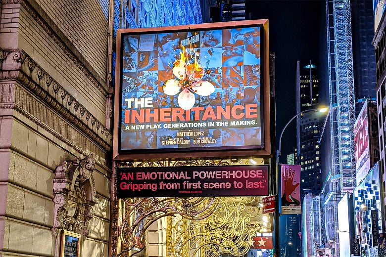 The Inheritance marquee on Broadway.