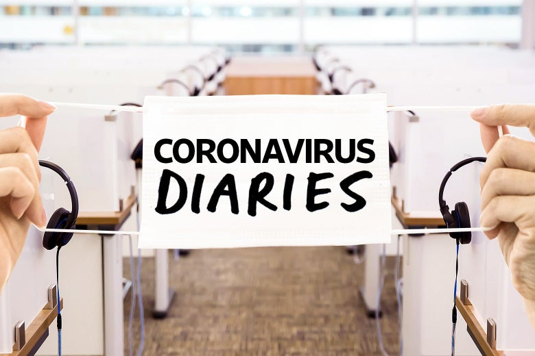 "A row of call center cubicles, with a ""Coronavirus Diaries"" banner stretched over it."