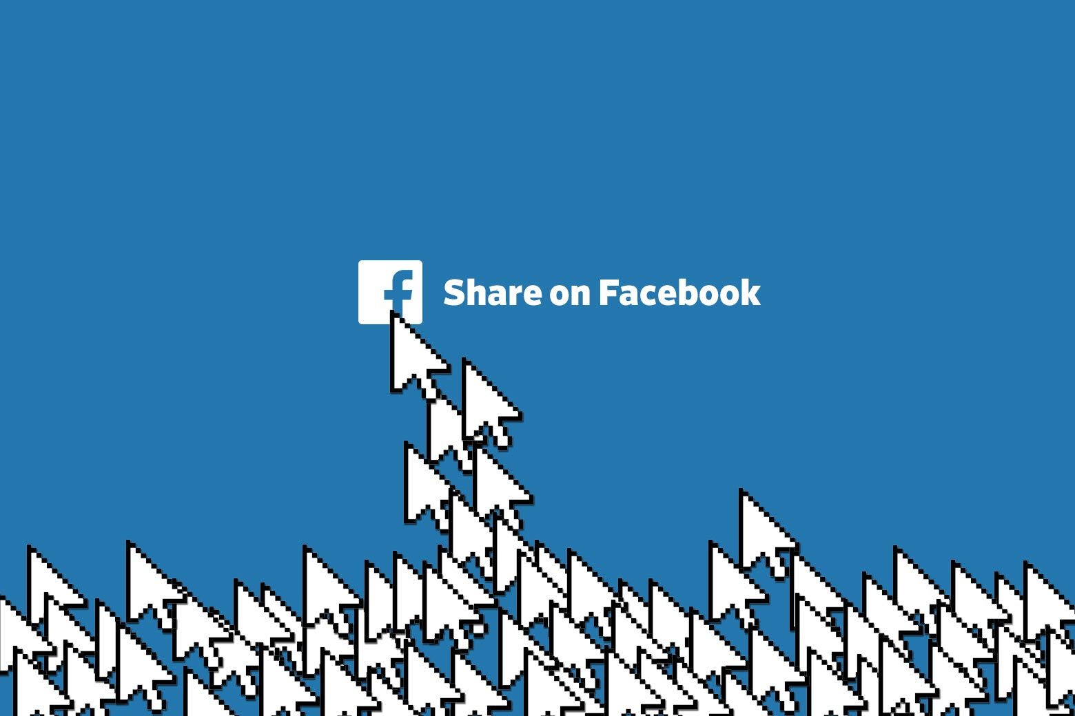 """A bunch of arrow icons clicking on """"Share on Facebook."""""""