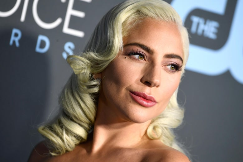 Lady Gaga from the neck up on the red carpet at the Critics' Choice Awards.