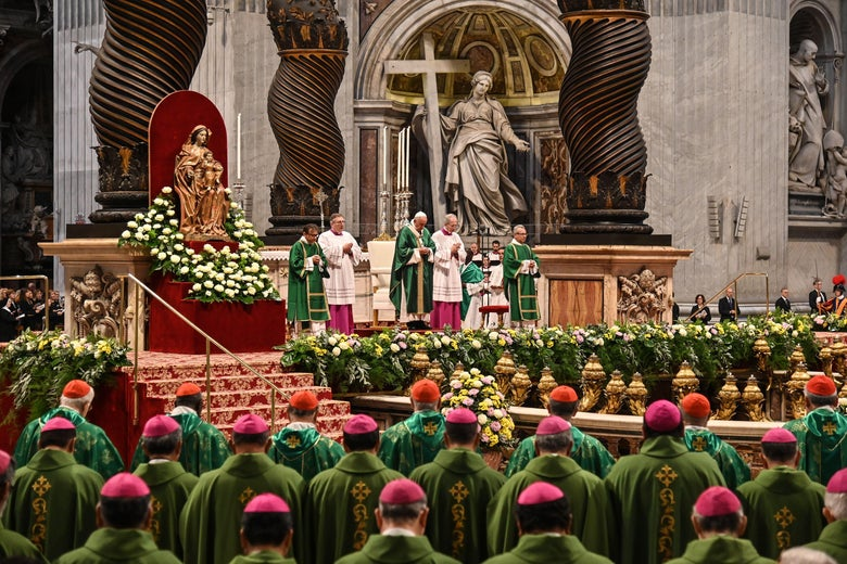 Pope Francis at the closing mass of the Synod on Amazonia on Oct. 27, 2019 at the Saint Peter's Basilica in the Vatican.