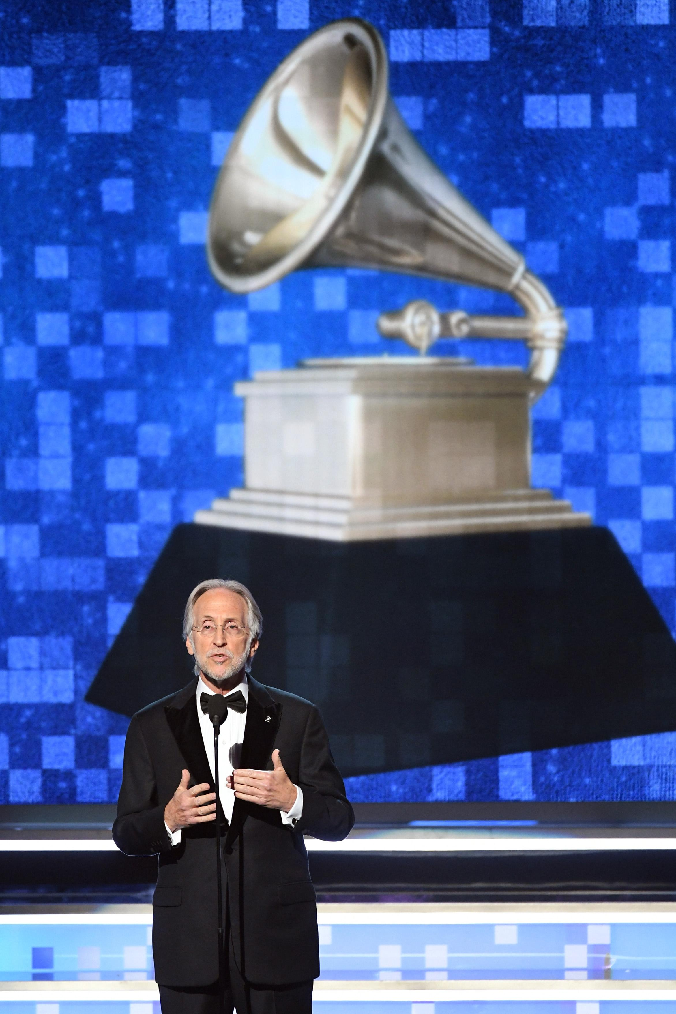 President and CEO of The Recording Academy Neil Portnow speaks onstage during the 61st Annual GRAMMY Awards at Staples Center on February 10, 2019 in Los Angeles, California.  (Photo by Kevin Winter/Getty Images for The Recording Academy)
