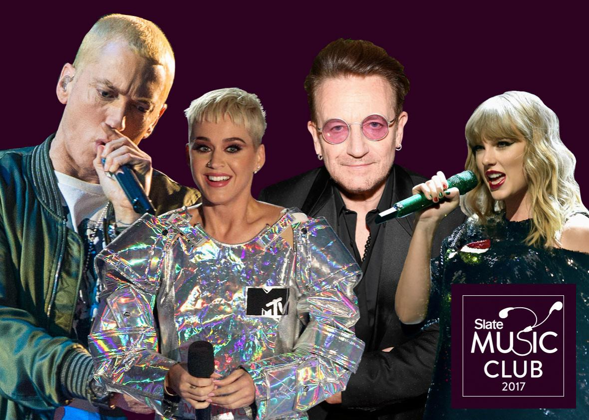 Eminem, Katy Perry, Bono, and Taylor Swift.