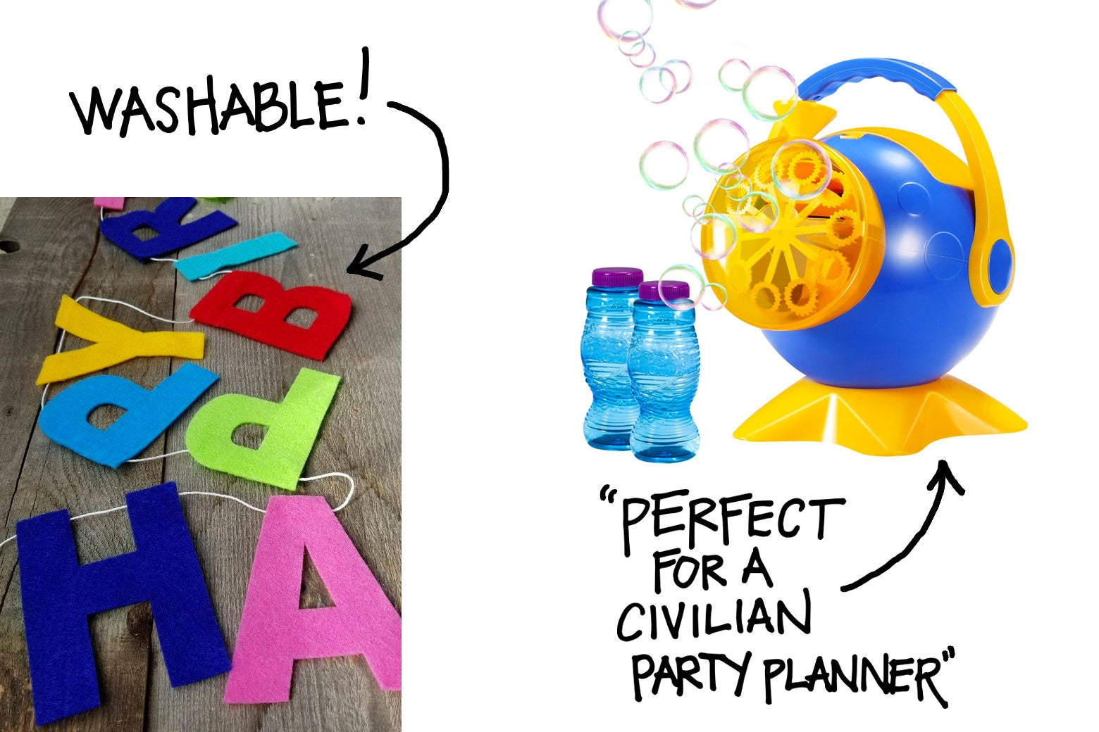 A collage of fun things to have at a kid's birthday party, including a birthday banner and a bubble machine.
