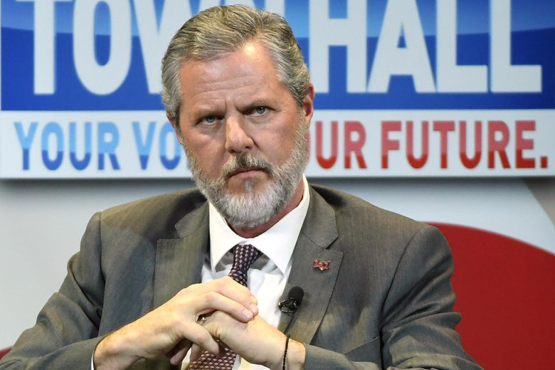 Jerry Falwell Jr. participates in a town hall meeting on the opioid crisis at the Westgate Las Vegas Resort & Casino on March 5, 2019 in Las Vegas, Nevada.