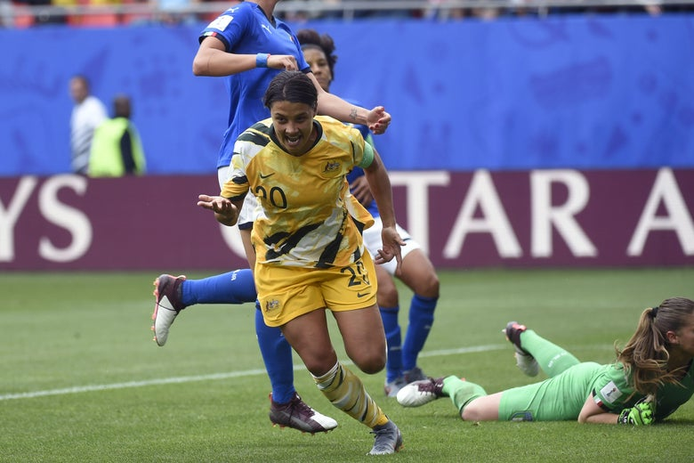 Australia forward Sam Kerr celebrates her first-half goal.
