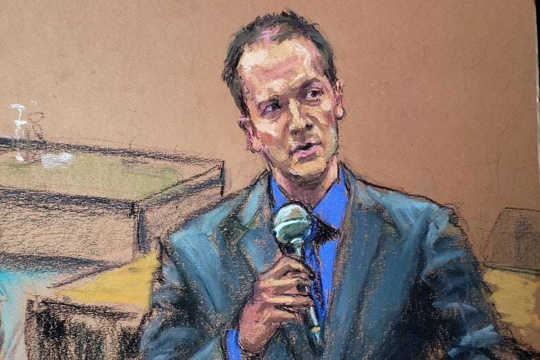 A courtroom sketch shows Derek Chauvin, wearing a suit, speaking into a microphone from his seat at the defense table.