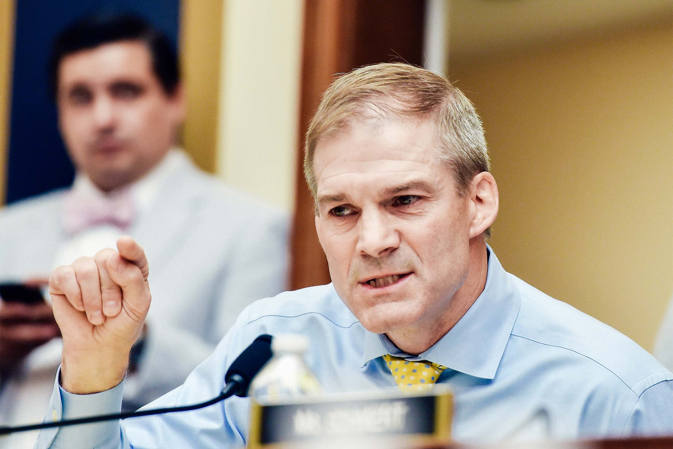 Jim Jordan speaks into a microphone at a hearing.