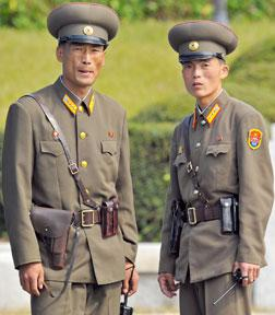 North Korean army officers.