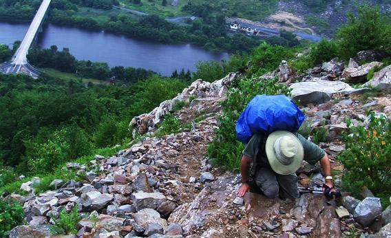 Blind hiker Mike Hanson on the Appalachian Trail