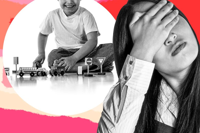 Photo illustration of a child playing with toy trucks while a young woman facepalms.